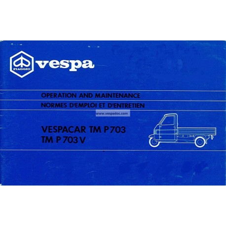 Manuale de Uso e Manutenzione Piaggio Ape TM P703, Piaggio Ape TM P703V, mod. ATM1T, ATM2T