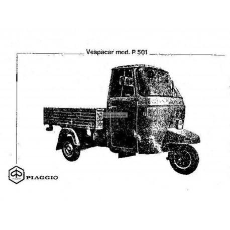 Manuale de Uso e Manutenzione Piaggio Ape P501 mod. MPR2T