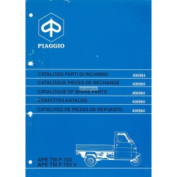 Catalogue de pieces Piaggio Ape TM P703, Ape TM P703V, ATM2T