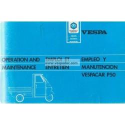 Normas de Uso e Entretenimiento Piaggio Ape 50, Piaggio Ape P50, mod. TL2T / TL5T