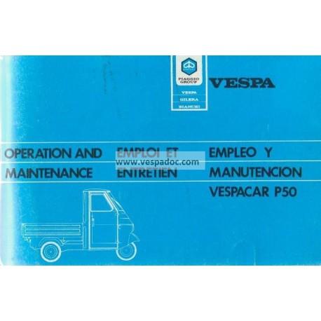 Notice d'emploi Piaggio Ape 50, Piaggio Ape P50, mod. TL2T / TL5T
