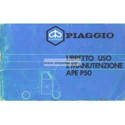 Bedienungsanleitung Piaggio Ape 50 mod. TL3T, Italienisch
