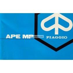 Manuale de Uso e Manutenzione Piaggio Ape MP, Ape 600 mod. MPM1T, Ape 600 mod. MPV1T, Ape 500 mod. MPR1T