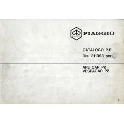 Catalogo de piezas de repuesto Piaggio Ape, Apecar, Vespacar P2, 1983
