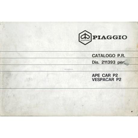Catalogue of Spare Parts Piaggio Ape, Apecar, Vespacar P2, 1983