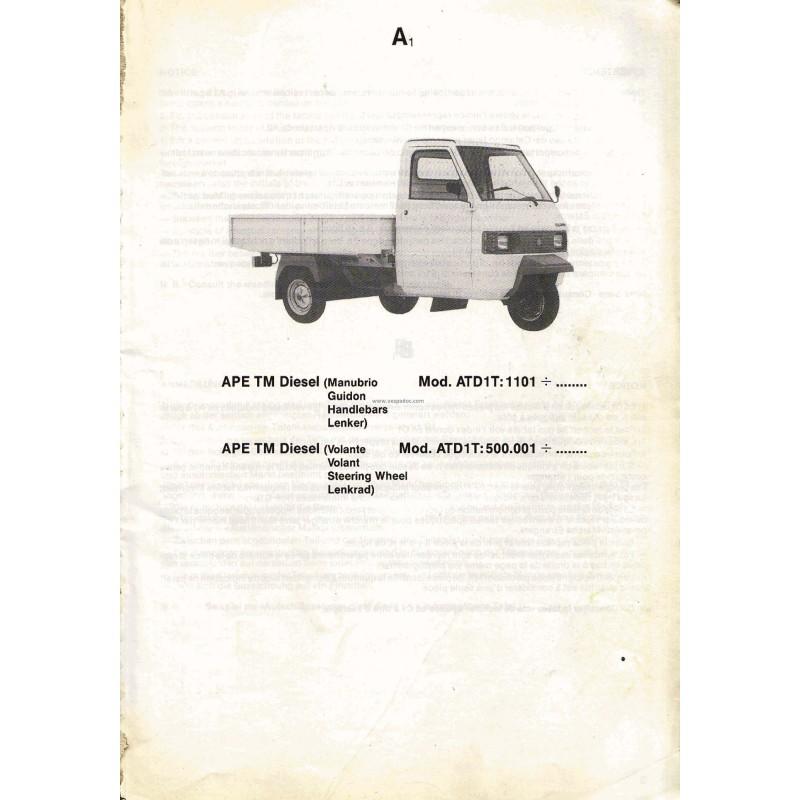 ersatzteil katalog piaggio ape tm p703 diesel ape tm. Black Bedroom Furniture Sets. Home Design Ideas