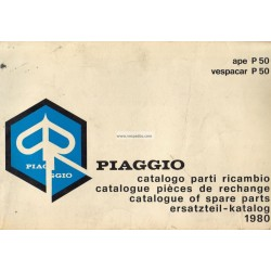 Catalogue of Spare Parts Piaggio Ape P50, Vespacar P50 Mod. TL3T, 1980