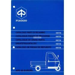 Catalogue de pieces Piaggio Ape 50 Europa Mod. TL5T