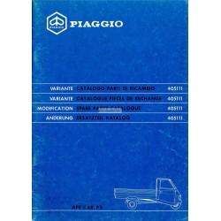 Catalogo delle parti di ricambio Piaggio Ape, Apecar, Vespacar P2 et Apecar P3