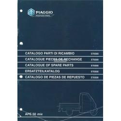 Catalogo de piezas de repuesto Piaggio Ape 50 MIX Mod. ZAPC 1998