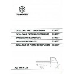 Catalogue of Spare Parts Piaggio Ape TM D LCS Mod. ZAPT
