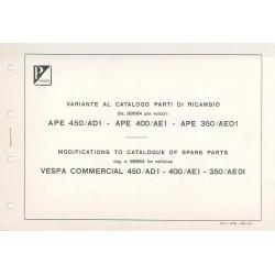 Variante al catalogo de piezas de repuesto Piaggio Ape 450 mod. AD1T, Ape 400 mod. AE1T, Ape 350 mod. AE01T