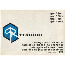 Catalogo delle parti di recambio Piaggio Ape P400V MPF, P601 MPM, P601V MPV, P501 MPR