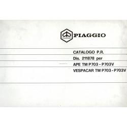 Ersatzteil Katalog Piaggio Ape TM P703, Ape TM P703V, ATM2T, 1984