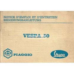 Notice d'emploi et d'entretien Vespa 50 mod. V5A1T