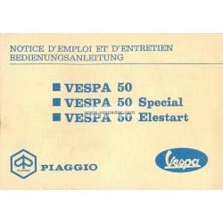 Notice d'emploi et d'entretien Vespa 50 R V5A1T, Vespa 50 Special V5B1T, Vespa 50 Elestart V5B2T