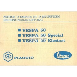 Operation and Maintenance Vespa 50 R V5A1T, Vespa 50 Special V5B1T, Vespa 50 Elestart V5B2T