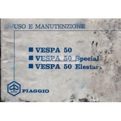 Manuale de Uso e Manutenzione Vespa 50 R V5A1T, Vespa 50 Special V5B1T, Vespa 50 Elestart V5B2T, Italiano
