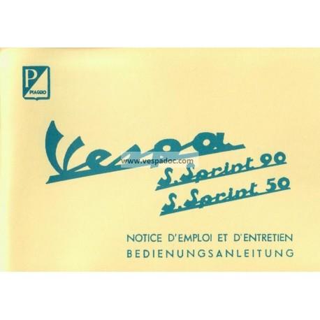 Notice d'emploi et d'entretien Vespa 50 SS mod. V5SS1T, Vespa 90 SS mod. V9SS1T
