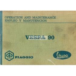 Manuale de Uso e Manutenzione Vespa 90 mod. V9A1T, Inglese, Spagnolo