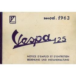 Manuale de Uso e Manutenzione Vespa 125 GT 1963 mod. VNL1T
