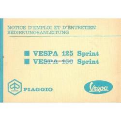 Manuale de Uso e Manutenzione Vespa 125 Sprint mod. VNL2T, Vespa 150 Sprint mod. VLB1T