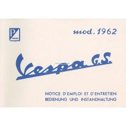 Notice d'emploi et d'entretien Vespa 160 GS mod. VSB1T 1962