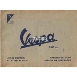 Manuale de Uso e Manutenzione Vespa 150 mod. VL1T 1954