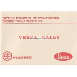 Notice d'emploi et d'entretien Vespa 180 Rally mod. VSD1T