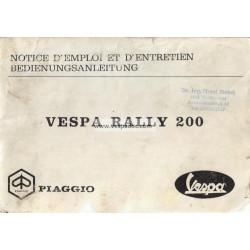 Notice d'emploi et d'entretien Vespa 200 Rally mod. VSE1T