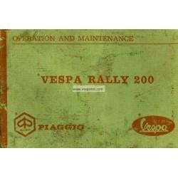 Notice d'emploi et d'entretien Vespa 200 Rally mod. VSE1T, Anglais