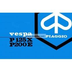 Manuale de Uso e Manutenzione Vespa PX 125 mod. VNX1T, PX 200 E mod. VSX1T, italiano