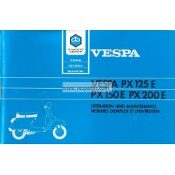 Operation and Maintenance Vespa PX 125 E, PX 150 E, PX 200 E, Arcobaleno