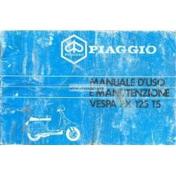 Manuale de Uso e Manutenzione Vespa PX 125 T5, Vespa T5 mod. VNX5T, italiano