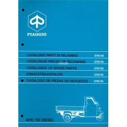 Catalogue of Spare Parts Piaggio Ape TM P703 Diesel, Ape TM P703V Diesel, ATD1T, 1997