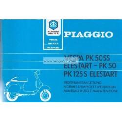 Manuale de Uso e Manutenzione Vespa PK 50 SS Elestart  Mod. V5S1T, Vespa PK 50 Mod. V5X1T,  Vespa PK 125 S Elestart Mod. VMX5T
