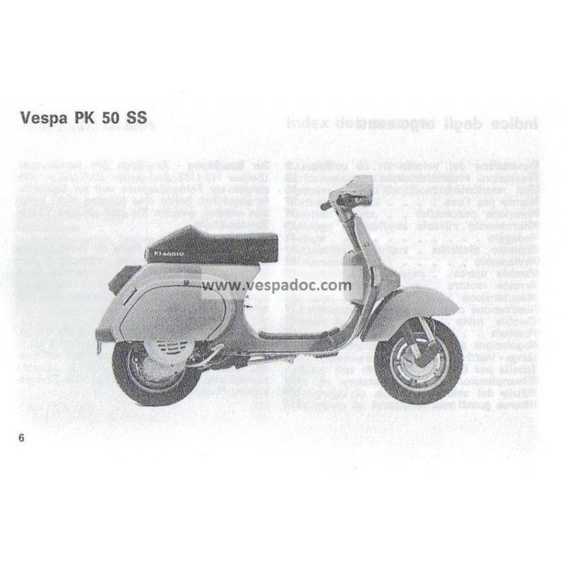 notice d 39 emploi et d 39 entretien vespa pk 50 ss elestart mod. Black Bedroom Furniture Sets. Home Design Ideas