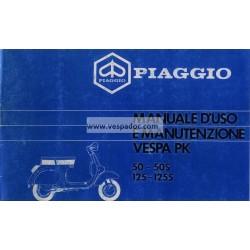 Operation and Maintenance Vespa PK 50 mod. V5X1T, PK 50 S mod. V5X2T, PK 125 mod. VMX1T, PK 125 S mod. VMX5T, Italian