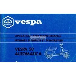 Notice d'emploi et d'entretien Vespa 50 Automatica mod. V5P2T