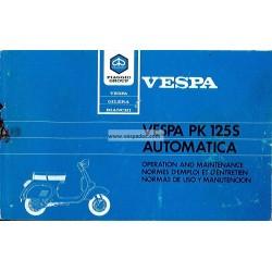 Manuale de Uso e Manutenzione Vespa PK 125 S Automatica  Mod. VAM1T