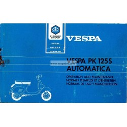 Operation and Maintenance Vespa PK 125 S Automatica  Mod. VAM1T