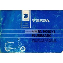 Operation and Maintenance Vespa PK 50 XL Plurimatic mod. VA52T