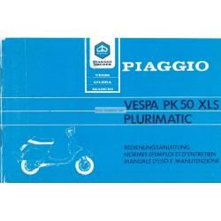Normas de Uso e Entretenimiento Vespa PK 50 XLS mod. VAS1T