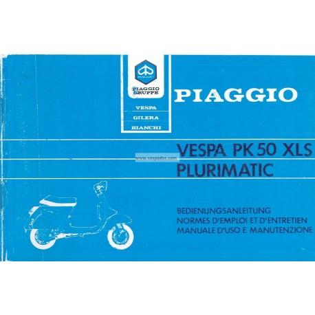Operation and Maintenance Vespa PK 50 XLS mod. VAS1T