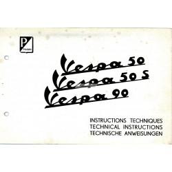 Technische anweisungen Vespa 50 mod. V5A1T, Vespa 50 S mod. V5SA1T, Vespa 90 mod. V9A1T