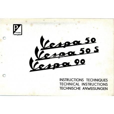 Technical Instructions Vespa 50 mod. V5A1T, Vespa 50 S mod. V5SA1T, Vespa 90 mod. V9A1T