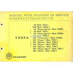 Manuale per Stazioni di Servizio Scooter Vespa 1963 - 1968