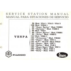 Manual Técnico Scooter Vespa 1963 - 1972, Inglês, Español