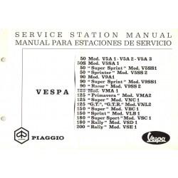 Manuale per Stazioni di Servizio Scooter Vespa 1963 - 1972, Inglese, Spagnolo