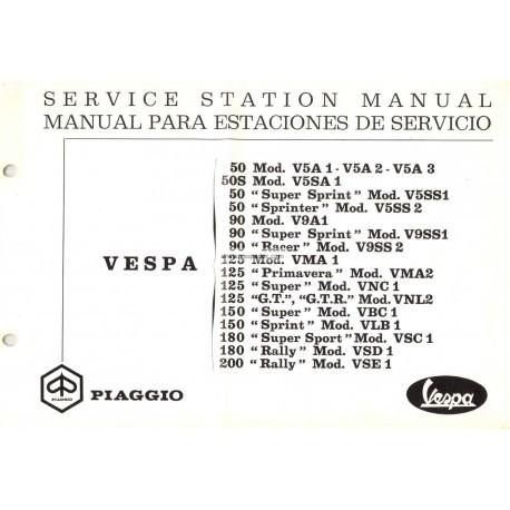 Workshop Manual Scooter Vespa 1963 - 1972, English, Spanish